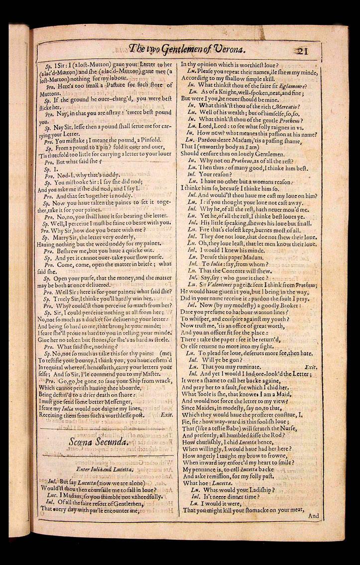 thetwogentlementofverona the 1623 folio